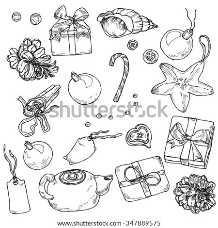 Hand-drawn christmas decor collection in vector