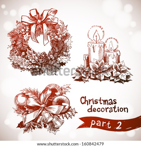 Hand drawn christmas decoration set. Wreath, flowers and candles. Christmas and New years holidays vector hand drawn illustration with xmas wreath. holidays vector hand drawn card. - stock vector