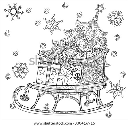 Hand drawn Christmas doodle sketch sledge on squared paper. Sleighs, gift boxes,  Christmas tree. Vector illustration isolated. - stock vector