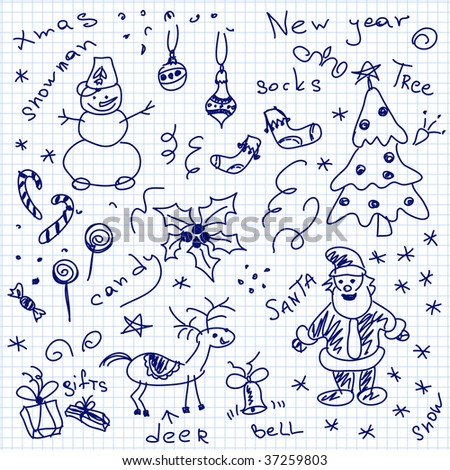 Hand-drawn christmas doodles. Vector. Visit my portfolio for big collection of doodles - stock vector