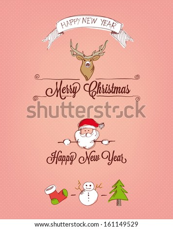 Hand Drawn Christmas Elements - Illustration - stock vector