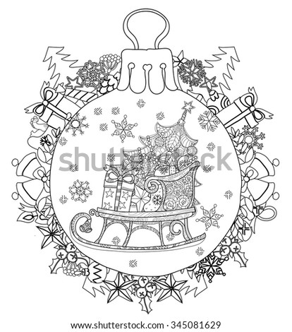 Hand drawn Christmas glass ball fir tree doodle sketch sledge . Sleighs, gift boxes,  Christmas tree. Vector illustration isolated. - stock vector
