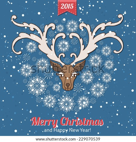 Hand drawn Christmas greeting card with a cute deer and snowflakes. Vintage Christmas greeting card. Vector illustration. - stock vector