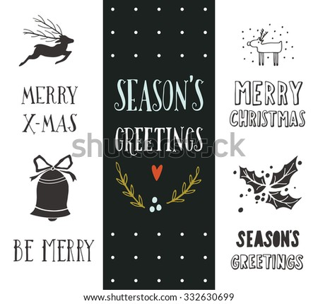 Hand drawn Christmas holiday collection with lettering and decoration elements for greeting cards, stationary, gift tags, scrapbooking, invitations.