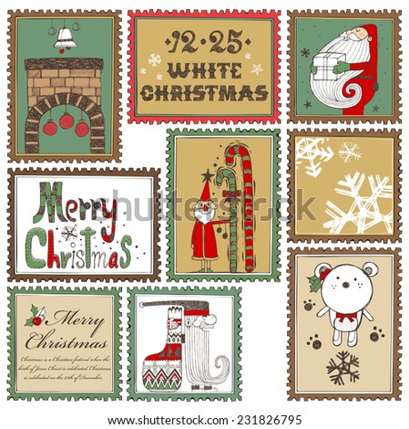 Hand drawn Christmas stamps collection B - stock vector