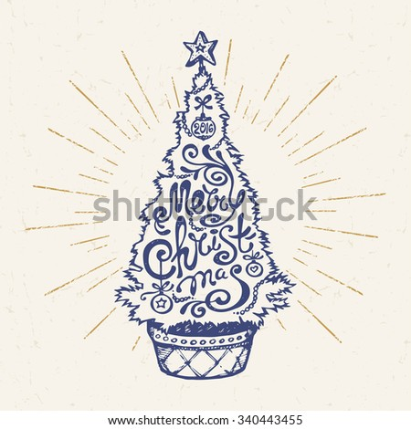 "Hand Drawn Christmas Tree in a Pot with ""Merry Christmas"" Lettering. Vector Illustration. - stock vector"