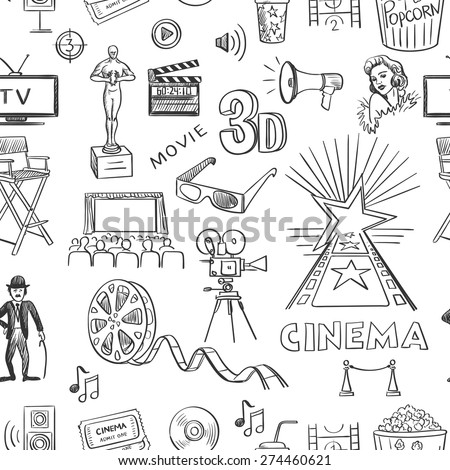 Hand drawn cinema pattern, excellent vector illustration, EPS 10 - stock vector