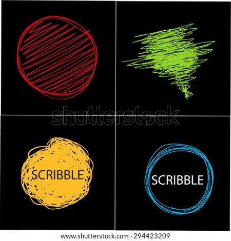 Hand drawn circle banners. - stock vector