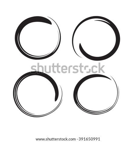 Hand drawn circles, design elements vector - stock vector