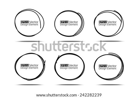 Hand drawn circles set for your design, Eps10 vector - stock vector