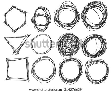 Hand drawn circles, vector logo design elements - stock vector