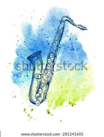 hand drawn classical alto saxophone on watercolor splash - stock vector