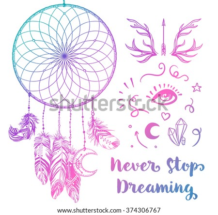 Dream Catchers Symbolism Hand Drawn Clip Art Native American Stock Vector 40 22
