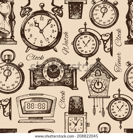 Hand drawn clocks and watches. Vintage hand drawn sketch seamless pattern. Vector illustration - stock vector