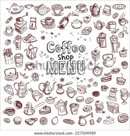 hand drawn coffee and confectionery elements, vector illustration - stock vector
