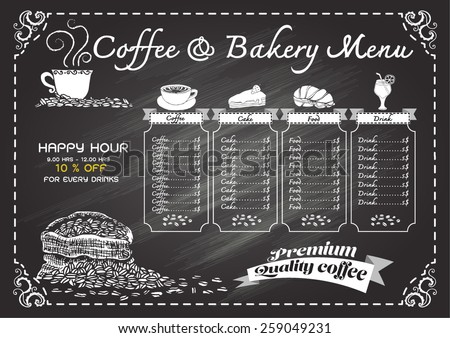 Hand drawn coffee menu on chalkboard. - stock vector