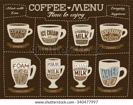 Hand Drawn Coffee Menu Template Coffee Stock Vector 340477997 ...