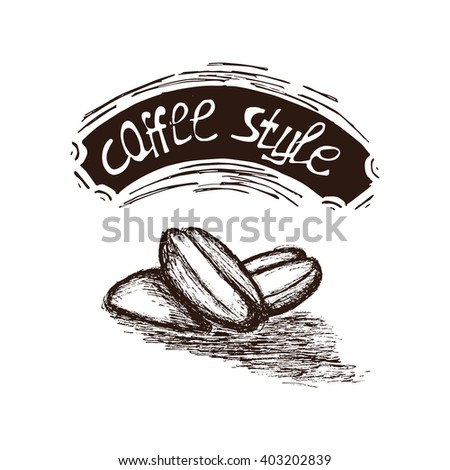 Hand Drawn Coffee Seed Vector Illustration. Coffee Seed Vintage Logo.