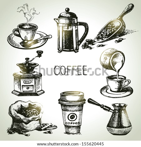 Hand drawn coffee set - stock vector