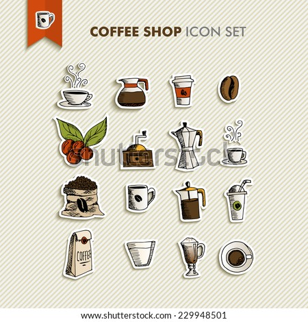 Hand drawn coffee shop icons set design. Menu, website and app elements. EPS10 vector file organized in layers for easy editing. - stock vector