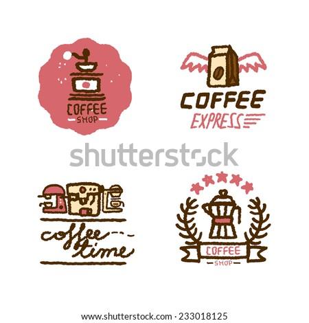 Coffee Shop Logo Vector Hand Drawn Coffee Shop Logo
