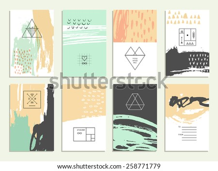 Hand drawn collection of artistic invitations with trendy geometric icons and logotypes. Wedding, marriage, bridal, birthday, Valentine's day. Isolated  - stock vector