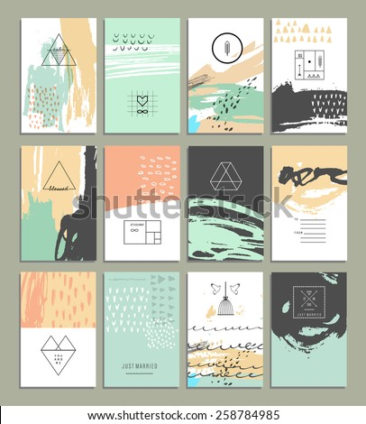 Hand drawn collection of 12 artistic invitations with trendy geometric icons and logotypes. Wedding, marriage, bridal, birthday, Valentine's day. Isolated  - stock vector