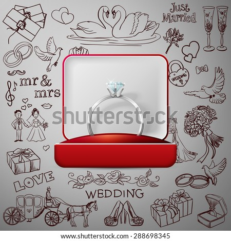 Hand drawn collection of decorative wedding design elements with gold wedding rings. Decorative set of holiday objects and signs. - stock vector