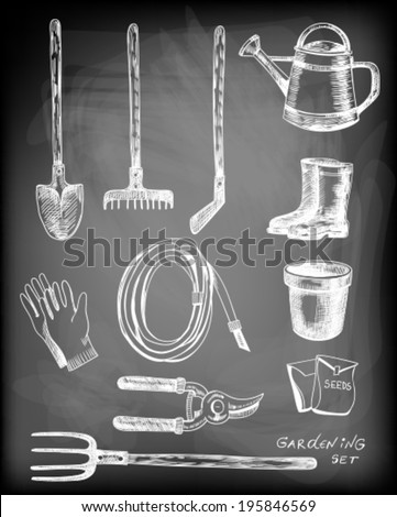 Hand - drawn collection of garden related objects and tools on chalkboard background. - stock vector