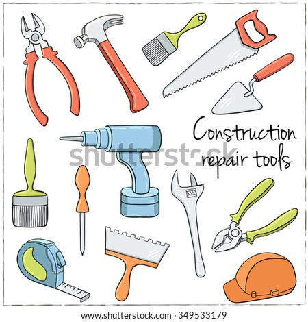 Hand drawn collection of house repair Tools. Vector illustration - stock vector