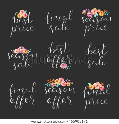 Hand drawn collection of labels and logos. Discount card set of Special Offer, Hot, Super, Big, Summer Sale.  - stock vector