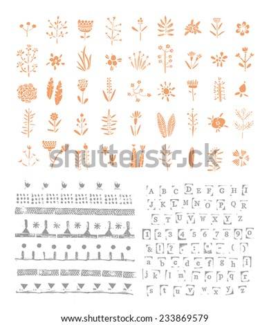 Hand drawn collection of romantic elements. Rubber stamps. Flowers, dividers, alphabet.  Wedding, marriage, bridal, birthday, Valentine's day. Isolated.   - stock vector