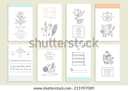 Hand drawn collection of romantic invitations. Wedding, marriage, bridal, birthday, Valentine's day. Isolated. Vector - stock vector