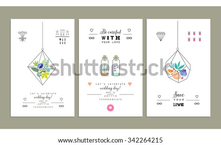 Hand drawn collection of romantic trendy invitations. Terrariums with flowers. Wedding, marriage, bridal, birthday, Valentine's day. Isolated. Vector - stock vector