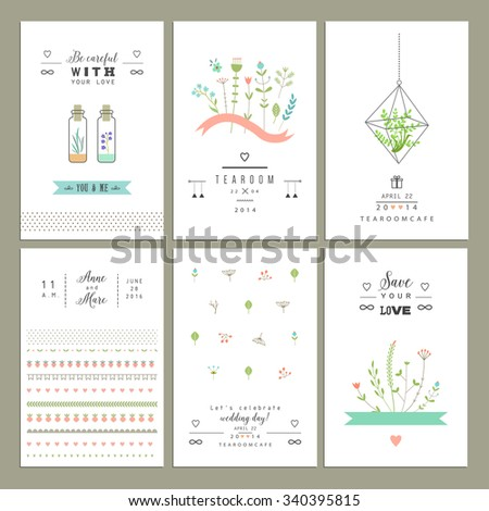 Hand drawn collection of romantic trendy invitations. Wedding, marriage, bridal, birthday, Valentine's day. Isolated. Vector - stock vector