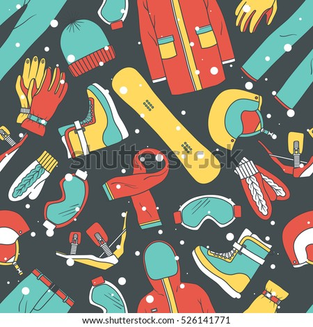 Hand drawn collection of sports equipment, seamless pattern vector. Colorful background, extreme sport icons. Decorative wallpaper, good for printing. Design backdrop, winter activities