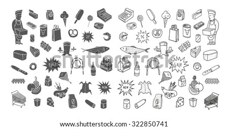 Hand drawn collection of supermarket symbols. Food, drinks, bakery.  - stock vector