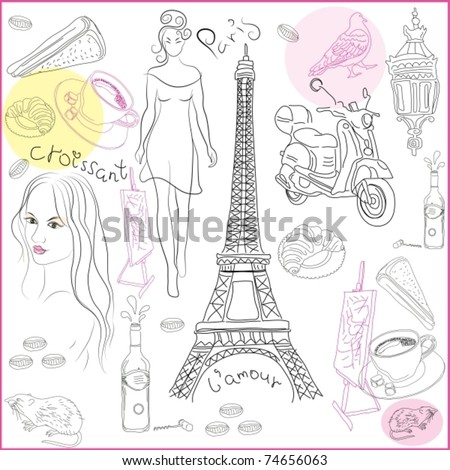 Hand drawn collection of symbols of Paris. Vector illustration - stock vector