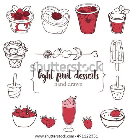 Hand Drawn Collection Of The Different Light Fruit Desserts. Line Art Set  Of The