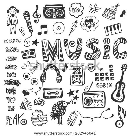 Hand-drawn collection with music doodles. Music icons set. Vector illustration.  - stock vector