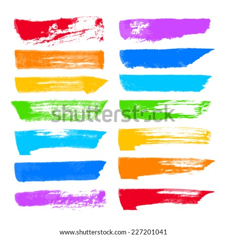 Hand-drawn color ink brush strokes. Eps8. Global colors. Gradients free.
