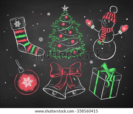 Hand drawn color red, white and green chalked Christmas set. - stock vector