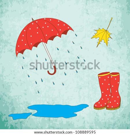 Hand drawn colored autumn set: umbrella, rain, leaf, gumboots - stock vector