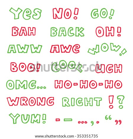 Hand-drawn colored interjections isolated on white background - cool vector exclamations set with some punctuation marks - stock vector