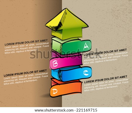 Hand-drawn colored up arrow with four steps ABCD on the grunge background - stock vector