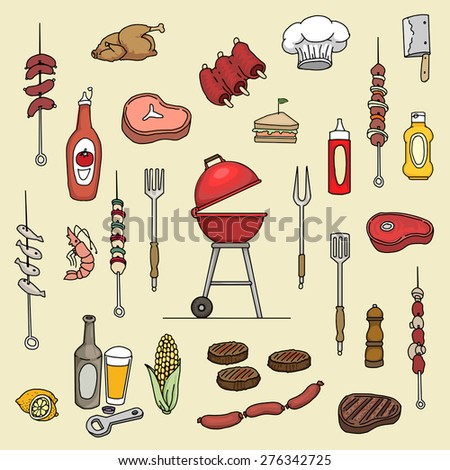 Hand drawn, colorful barbecue items and meats set, vector illustration - stock vector