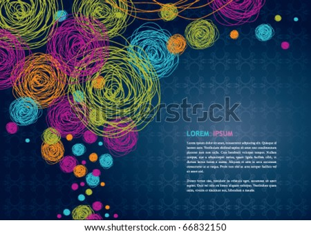 Hand drawn colorful circular background - stock vector