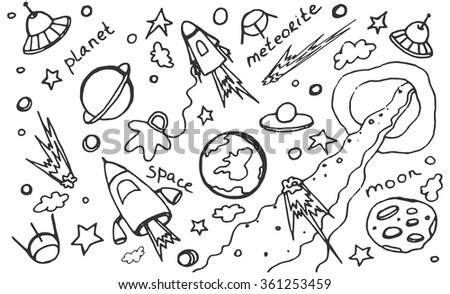 Hand drawn colorful cosmos doodle vector set, excellent vector illustration, EPS 10 - stock vector