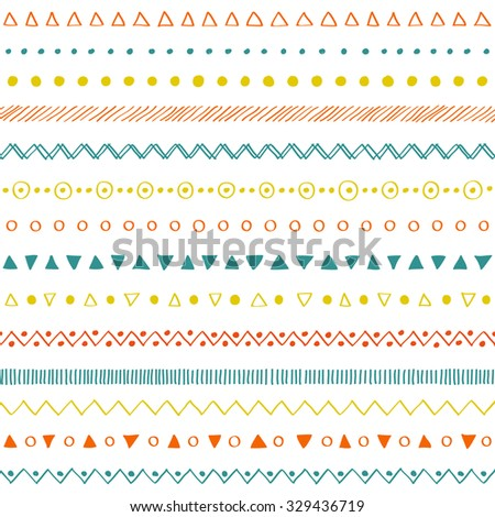 Hand drawn colorful decorative elements pattern. Tangling seamless - stock vector