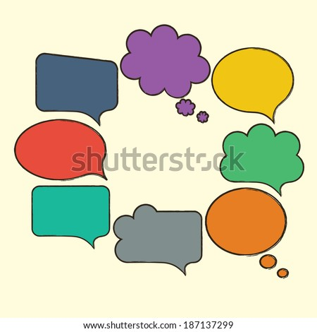 Hand-drawn, colorful empty speech bubbles isolated on beige. Bright vector illustration.